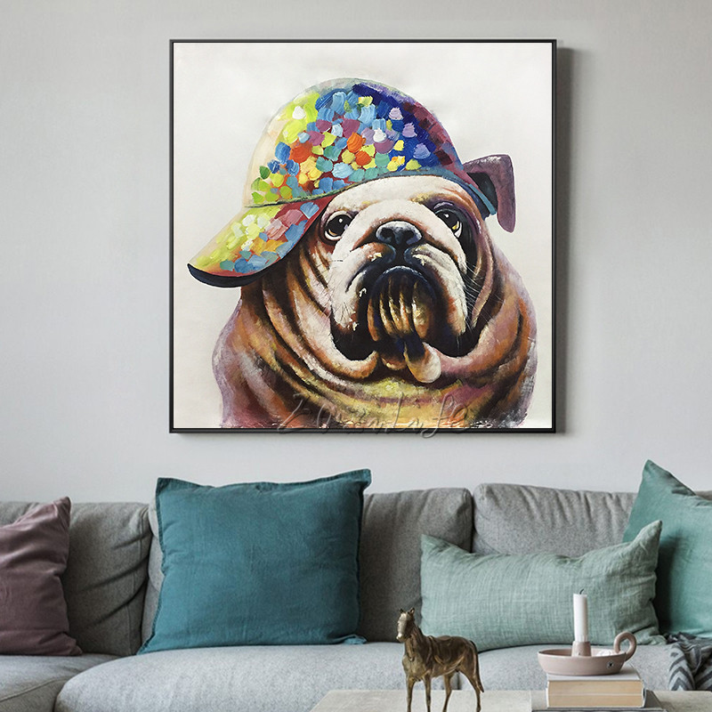 Pop art animal painting cuadros wall pictures dog oil painting for living room heavy texture wall art caudros decoracion qurdros