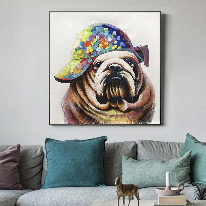 Im Cherylchia Kopen Goedkoop Pop Art Dier Schilderij Cuadros Muur Pictures Hond Olieverf Voor Woonkamer Zware Textuur Wall Caudros Decoracion Qurdros Online