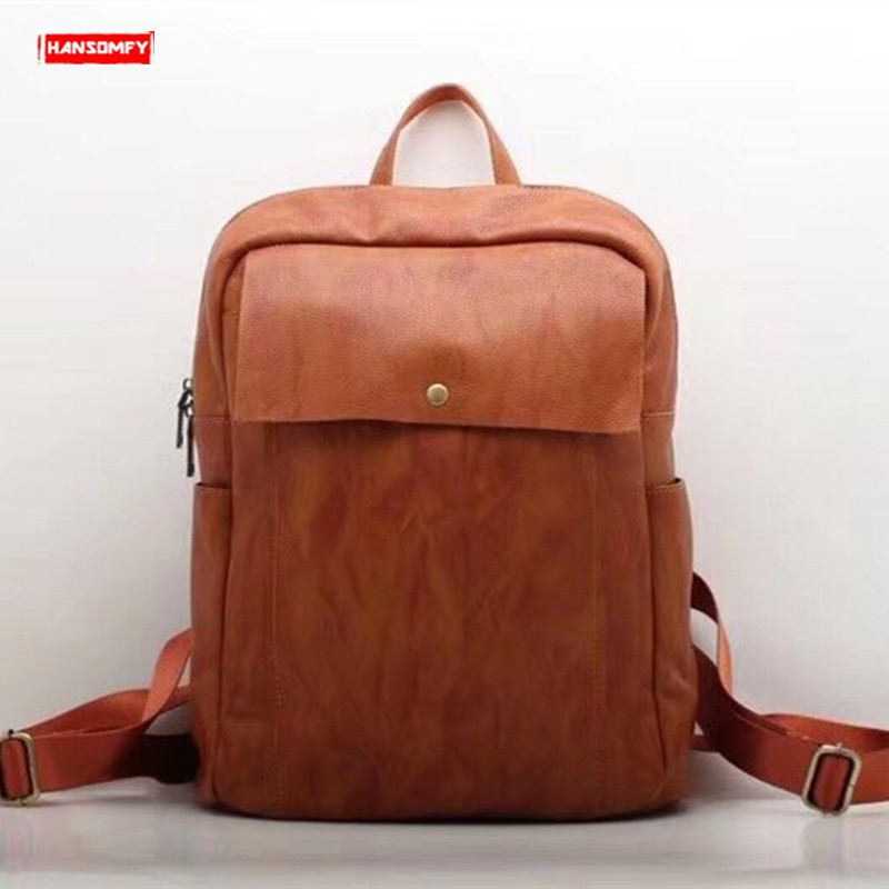 2019 Retro Crazy Horse Leather Men's Backpack Large Capacity first Layer Leather male shoulder bags Laptop Brown Travel Backpack