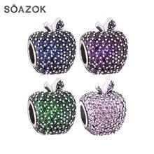 Soazok 100% S925 стерлингового серебра бисера Fit оригинальный браслет Pandora Шарм Apple-бусины в форме Ясно CZ DIY изготовления ювелирных изделий подарки