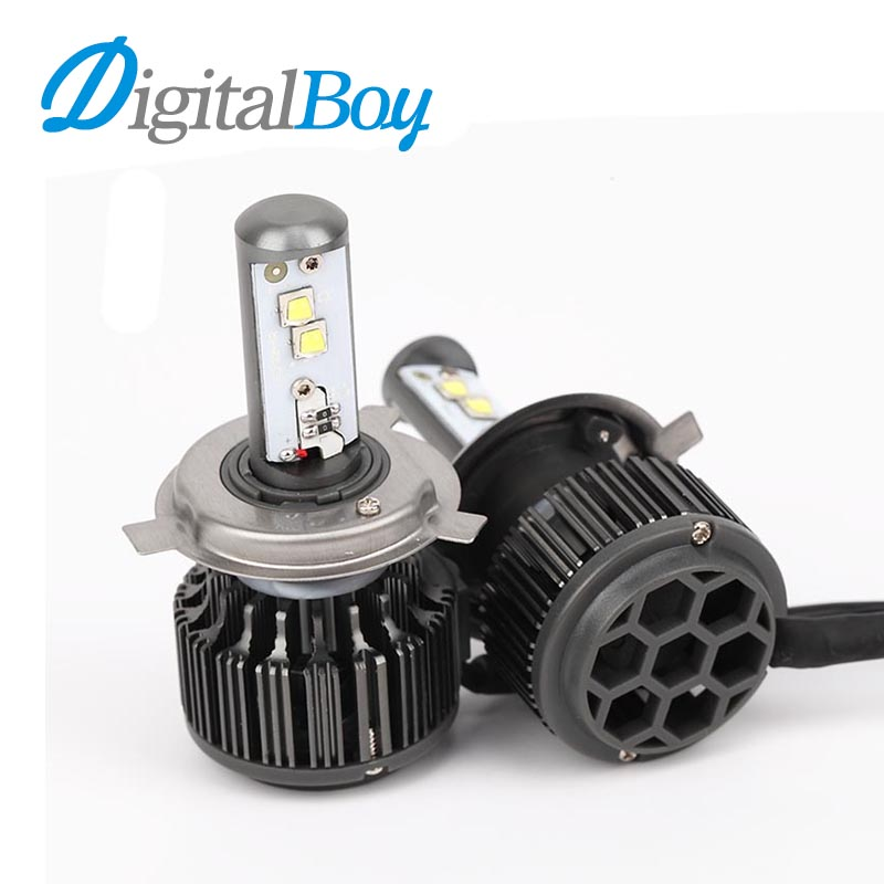 Digitalboy 70W Car LED Headlight H4 Bulb High Low Beam Headlamp Fog Light Replacement LED Hi/Lo Beam Car Lighting Source 6000k