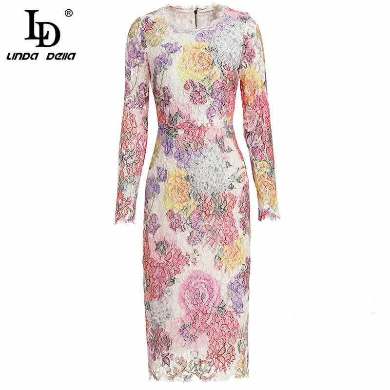 LD Linda della 2019 Весенняя мода для подиума пикантные кружевное платье Для женщин с длинным рукавом многоцветный цветочный принт Повседневное тонкое платье карандаш