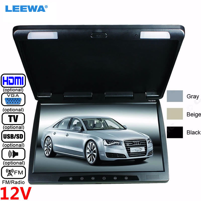 LEEWA 12V Bus Car 22 inch Touch button Flipdown TFT LCD Roof Mounted HD Bus Monitor with IR transmitter TV USB SD FM VGA HDMI