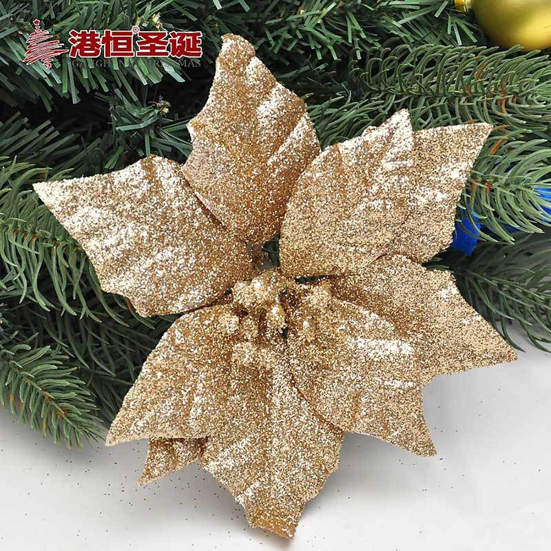 5pieceslot gold glitter poinsettia christmas tree ornament christmas decorations powder sticked flock christmas flowers 15cm in christmas from home