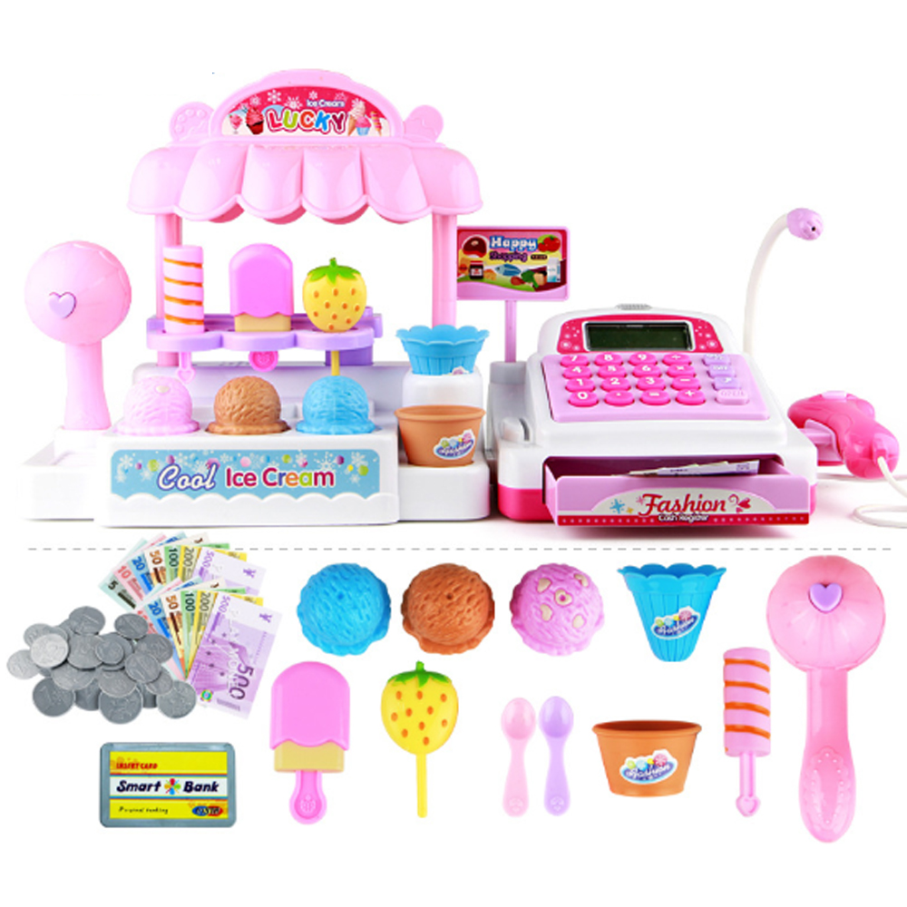 Mini Simulation Supermarket Checkout Counter Goods Toys Pretend Play Shopping Credit Card Cash Register Set Toy For Girl's Gift