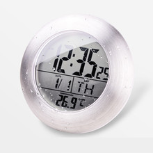 Wall Clock Modern Design Waterproof Bathroom Electronic LED Digital Clock Super Induction Thermometer