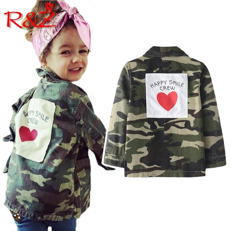 R & Z 2018 bebé niñas chaqueta de moda Primavera otoño camuflaje abrigos ejército niños chaqueta prendas de vestir exteriores