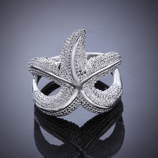 Wholesales 925 pure silver plated rings Fashion Jewelry sea star