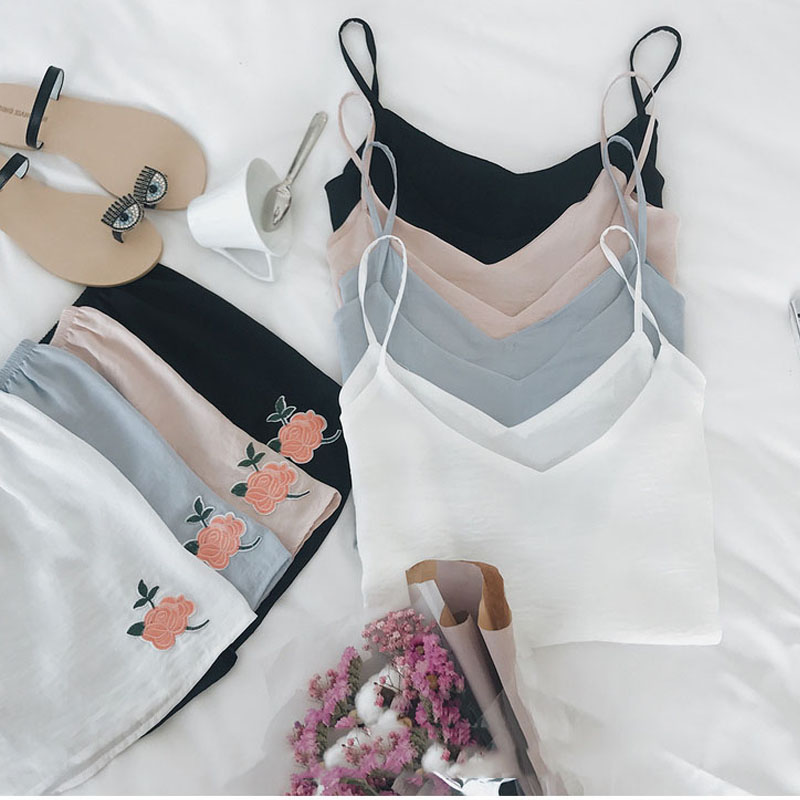 Sexy   Pajama     Sets   Women V neck 2 Pieces   Set   Cotton T shirt Top + Shorts Elastic Waist White Pink Black Grey Casual Pijama