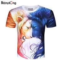 Grote tijger 2018 Nieuwste t-shirt Ruimte Galaxy Vrouwen/Mannen Harajuku Hip hop Merk T-shirt 3d Print kleur Dubbele leeuw Zomer Tops Tees