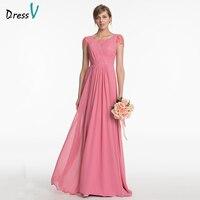 Dressv Peach Long Bridesmaid Dress V Neck Cap Sleeves A Line Lace Pleats Simple Wedding Party Prom Dress Bridesmaid Dress
