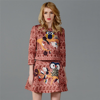 2015 New Fashion Luxury Spring Antumn Women S 2 Piece Set Good Quality Owl 3D Printed