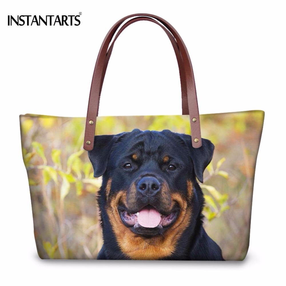 INSTANTARTS Fashion Women Large Tote Bags Cute 3D Dog Rottweiler Print  Shoulder Bag Ladies Shopping Brand Design Travel Handbags 36aeae3d322da