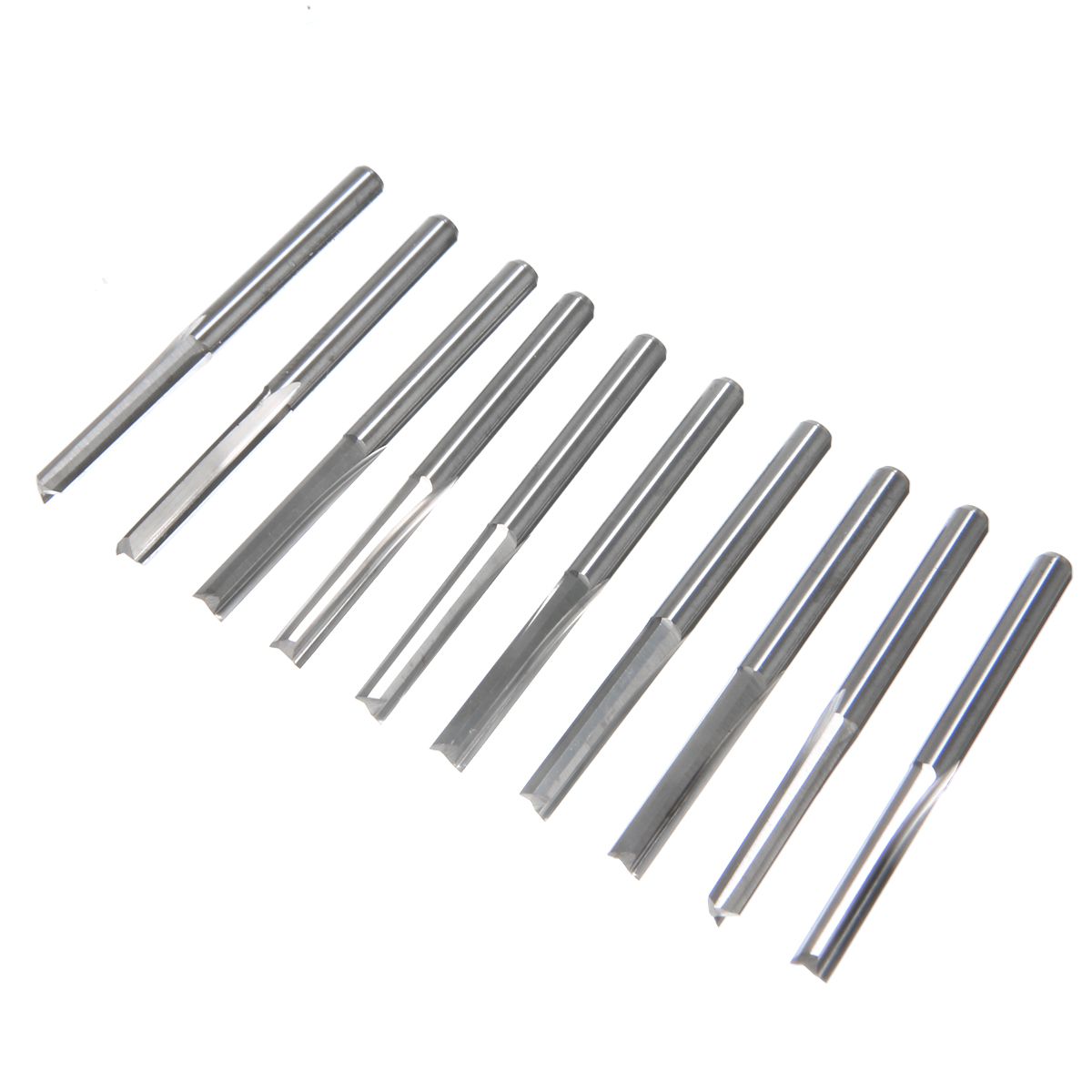 10pcs 2 Flute Straight Slot Milling Cutter Tungsten Steel CNC Router Bits  17mm For Wood MDF PVC Cutting Tools