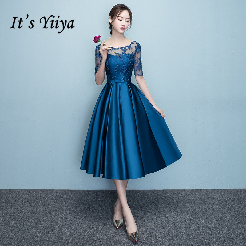 It's YiiYa   Cocktail     Dresses   O-neck Short Sleeve Embroidery Illusion Zipper Knee Length Formal   Dress   Party Gowns LX179 In Stock