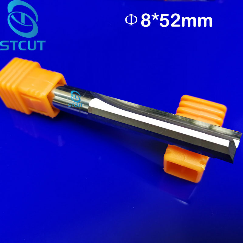 2pcs 8*52MM Carbide Two/Double Flute Straight Slot Router Bit, CNC Carving Engraving Tools, Wood Milling Cutter