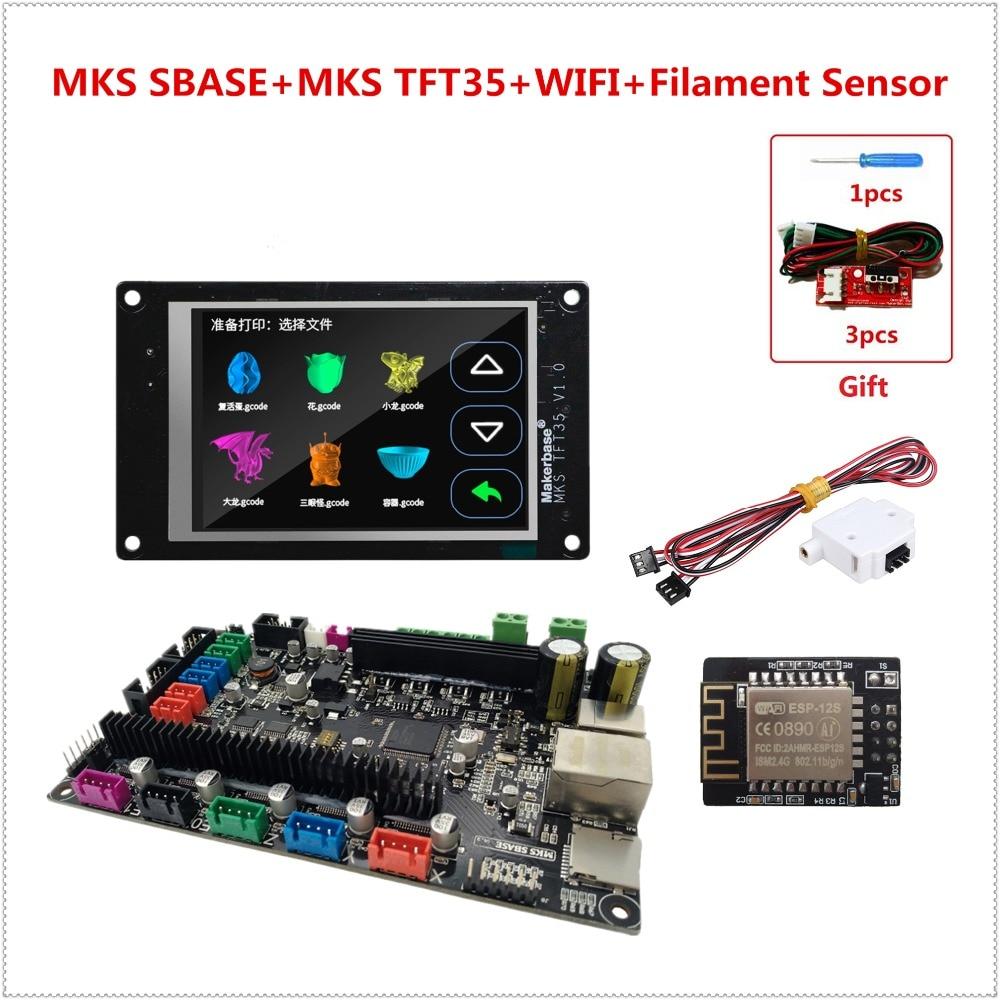 MKS SBASE + MKS TFT35 + MKS WIFI + capteur de Filament unité d'imprimante 3D lisse contrôleur carte mère + écran LCD tactile