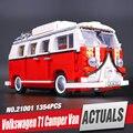 Nueva lepin 21001 1354 unids creador genuino volkswagen t1 camper van modelo kits de construcción de ladrillos de juguetes educativos con 10220 regalo