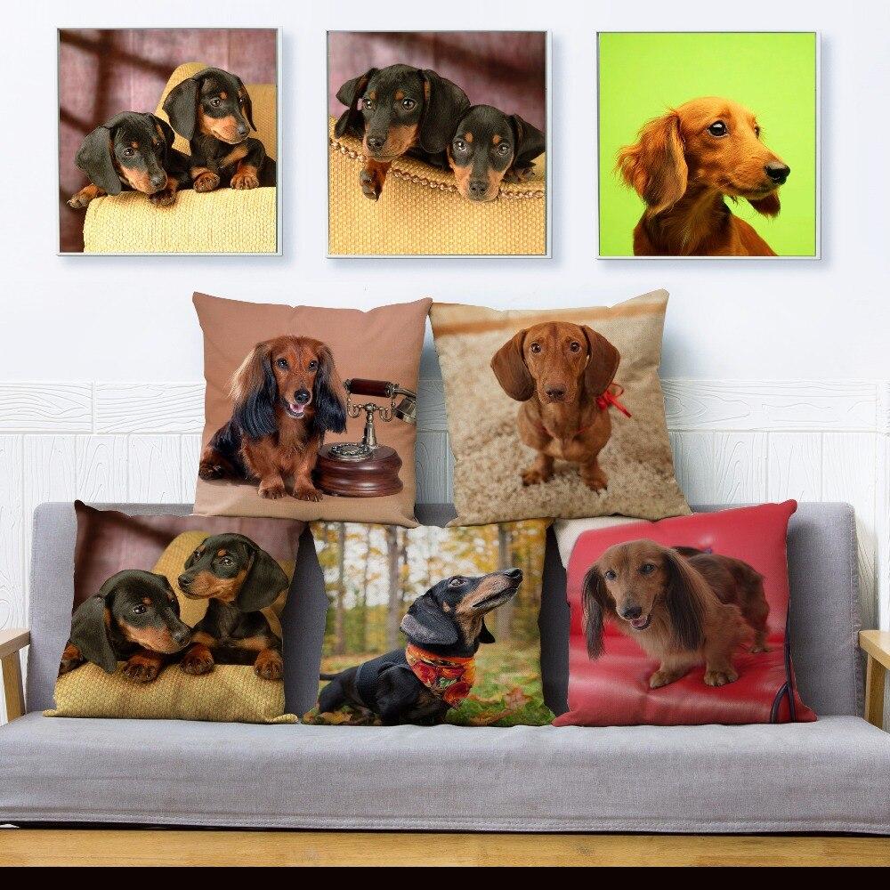 Cute Pet Dog Miniature Dachshund Print Pillow Cover 45*45 Square Cushion Covers Linen Pillow Case Sofa Home Decor Pillows Cases
