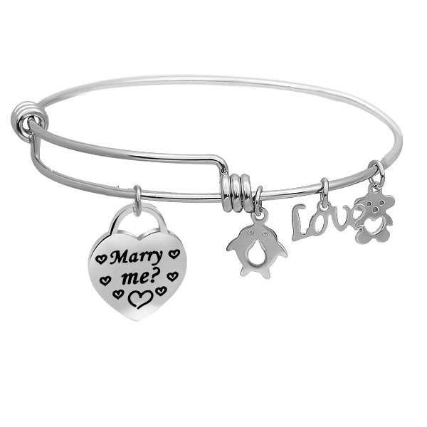 Yiwu Shmily Jewelry Co.,Ltd  Marry Me Engraved Heart Charms Adjustable Stainless Steel Charm Bracelet Wrist Bangle Jewelry For Proposing SCSZ-315