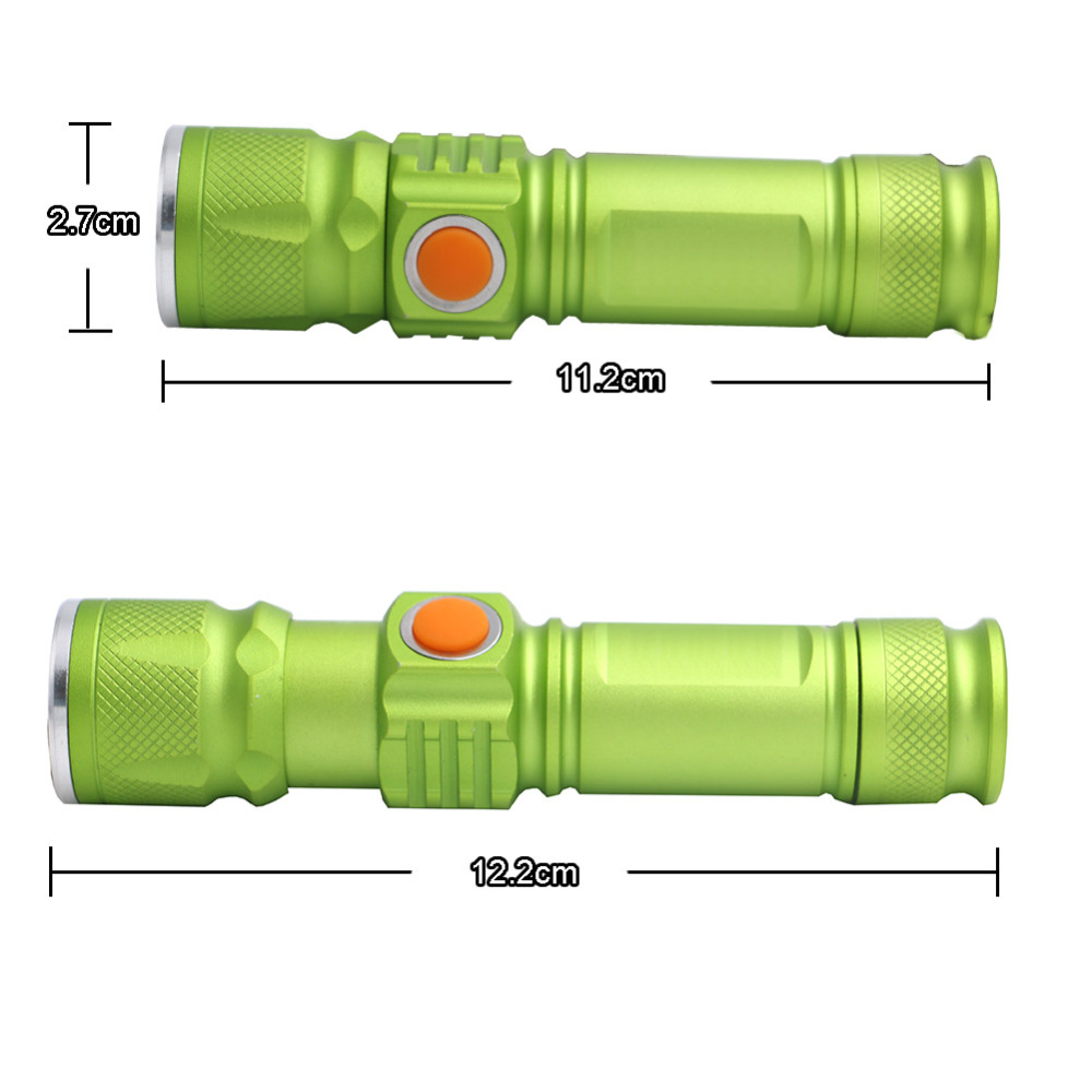 3 Modes XML-T6 3800LM Built-in 18650 USB Rechargeable Flashlight Portable Lantern Waterproof Torch Zoomable Flash Light