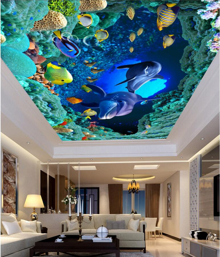 Custom photo 3d ceiling murals wallpaper Sea world dolphin caves home decoration painting 3d wall murals wallpaper for walls 3 d custom 3d ceiling photo wave dolphin 3d ceiling murals wallpaper home decor wallpaper on the ceiling papel de parede