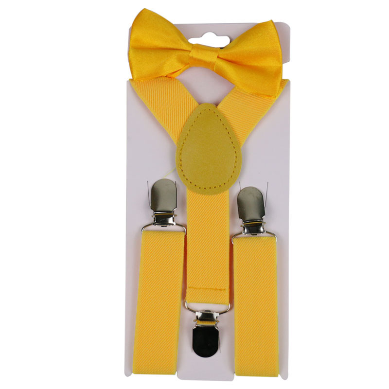 Winfox Black Red Yellow Children Suspenders Bowtie Set Baby Boys Girls 2.5cm Wide Suspenders Clip-on Y-Back Bow Tie Kids Braces