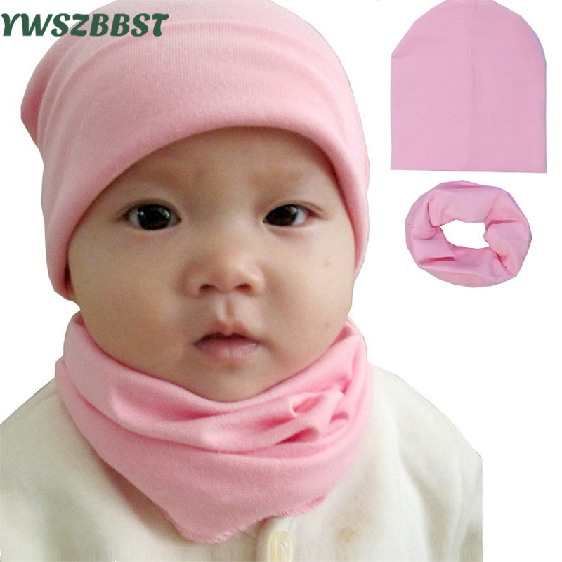 Solid Color Baby Hat Cotton Baby Caps Toddler Beanies 0-12Y Children Collar Scarf Kids Girls Boys Baby Winter Warm Hat Scarf Set stylish solid color lightweight pleated scarf for women