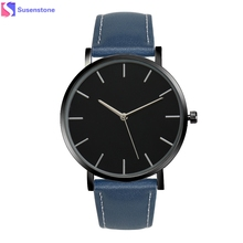 New Classical Mens Business Quartz Wrist Watches Saat erkekler Men Women Watch Fashion Gold Faux Leather Band Female clock