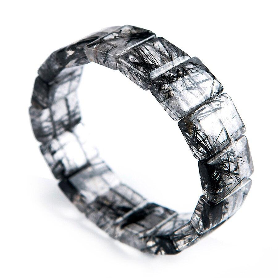 Natural Black Hair Needle Rutilated Quartz Crystal Charm Healing Bracelet 18*6mm