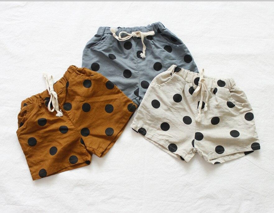 Toddler Girl   Shorts   Linen Kids Girl Clothings Dot Summer Girl   Shorts   Boys Clothes