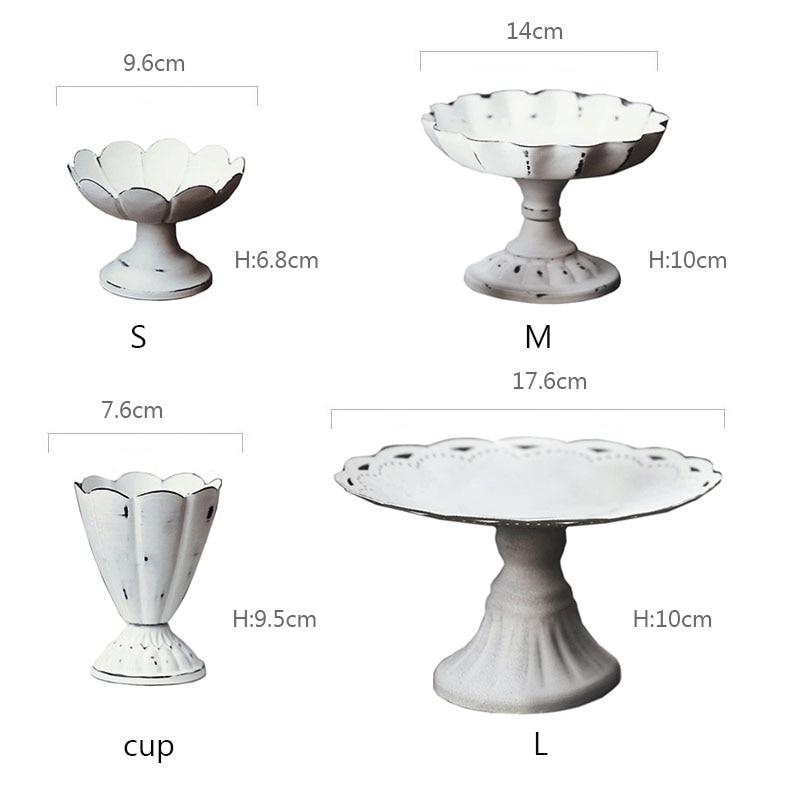 Металлический поднос JINSERTA, витрина для ювелирных изделий, Ретро Белый десерт, фруктовый торт, закуска, высокая тарелка, домашние вечерние свадебные украшения-5