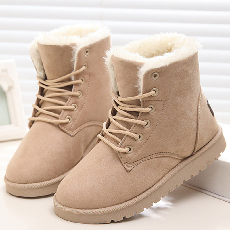 a97d2add5ac Shoes Women Snow Boots Winter Suede Flock Ankle Boots Female Warm Fur Insole  Lace-Up