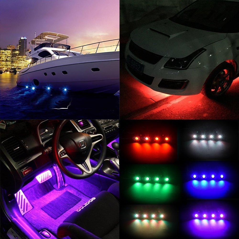 4 pièces 12v 9w LED lumière de roche étanche hors route LED Kit de lumière de roche RGB 4 pods LED lumières de roche décorer la lumière convient à 4x4 4WD