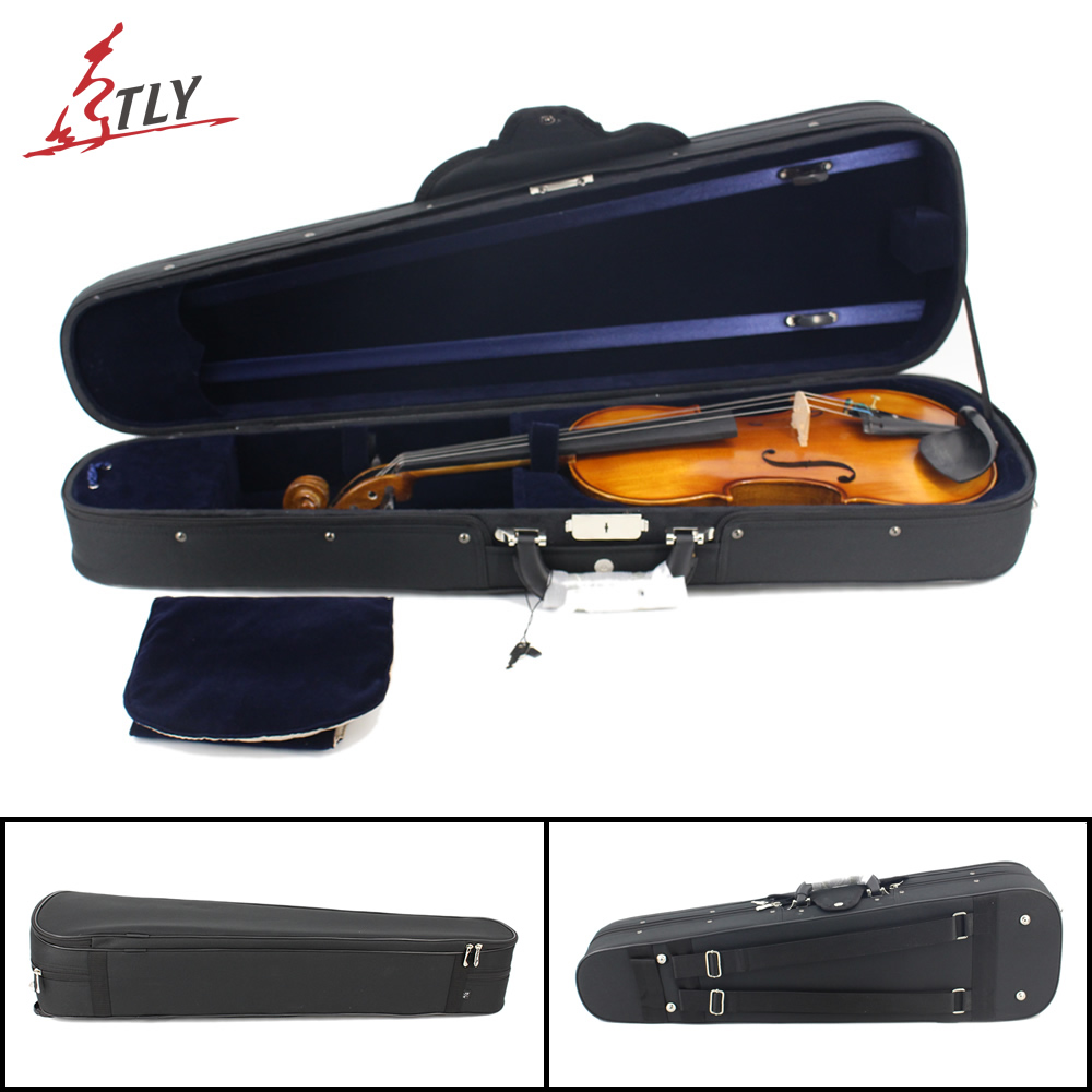 High-end Black Oxford+Plywood Triangle Violin Case w/ Straps for 4/4 3/4 1/2 1/4 1/8 1/16 Violin 3 4 4 4 1 2 1 4 1 8 1 16
