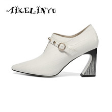 AIKELINYU 2019 Elegant Women Pump Genuine Leather Spring Shoes Metal Decoration Square Heel Pointed Head Office Lady