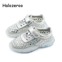 2019 Autumn New Kids Casual Sneakers Children Rhinestone Sneakers Baby Boys Sport Sneakers Girls Mesh Shoes Brand Silver Trainer
