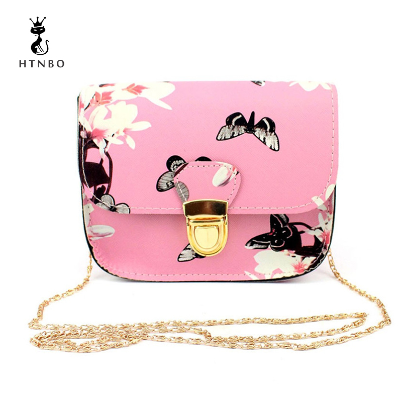 Women Bags Flower Printing Handbag Shoulder Bag Tote Messenger Bag Butterfly Girl Elegant Purse Fashion Bag Bolsa Feminina 2018