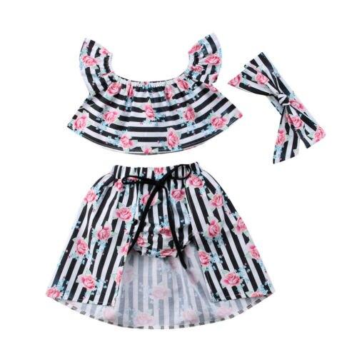Toddler Kids Baby Girls Clothes Sets Floral Striped Off Shoulder Tops Vest Skirt 3PCS Cotton Casual Clothing 1-6T chic off the shoulder striped floral embroidered midi dress for women