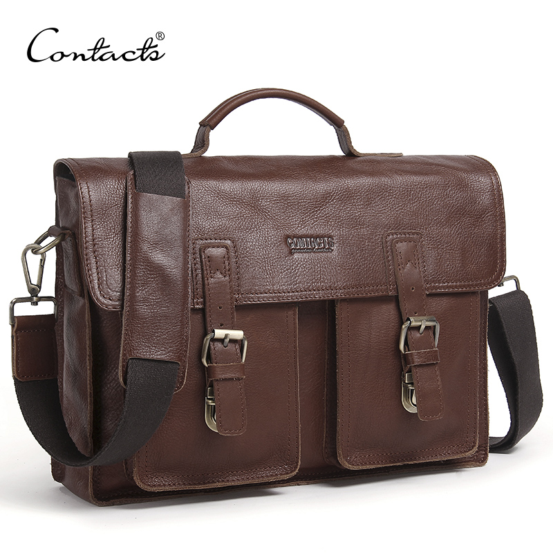 CONTACT'S Genuine Leather Men Briefcase Casual Men's Business Bag For 13.3 Inch Laptop Male Shoulder Bag Brand Messenger Bags