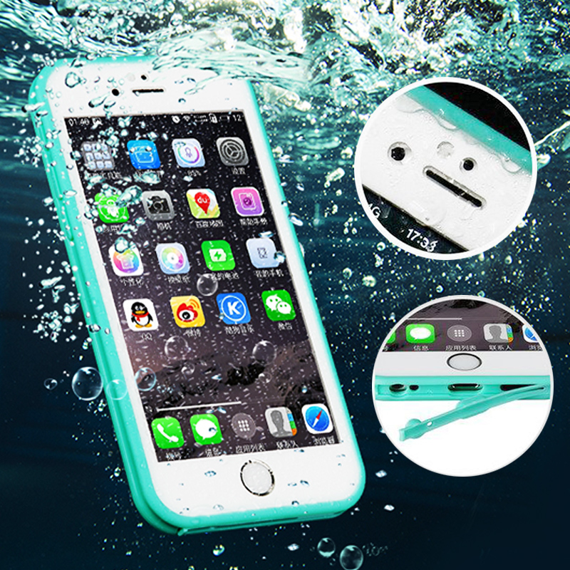 100% Sealed Water Resistant Waterproof Case For coque iPhone 7 6 6S Plus 5 5S SE Silicone Rubber Case Front Back Soft TPU Cover