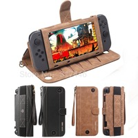 Wallet Style Carrying Case For Nintend Switch PU Leather Protect Flip Cover With 10 Card Holeders