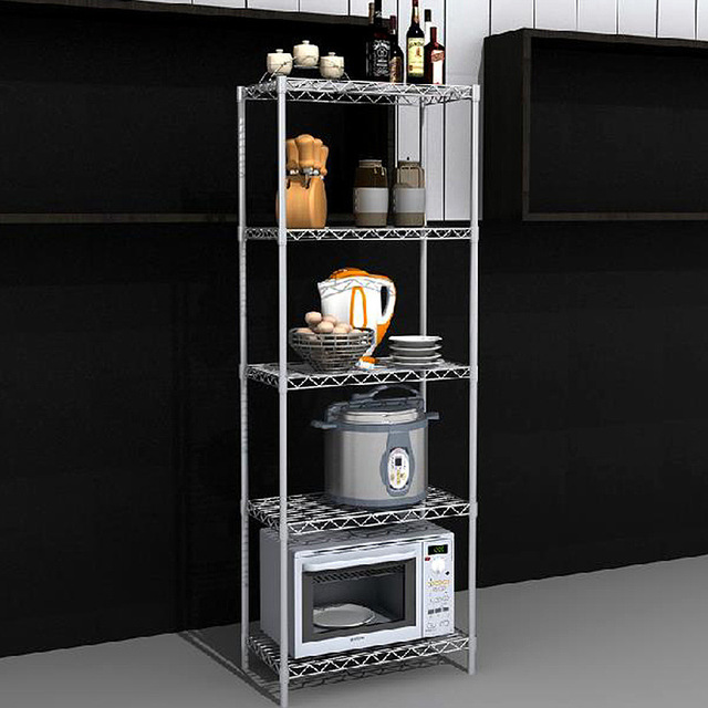 Iron Kitchen Shelf Microwave Oven Rack Five Simple Bookcase Shelves Metal  Shelves Factory Outlets