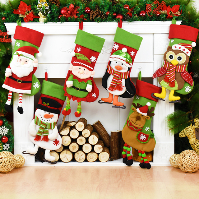 8eb8bfb2f4184f Santa Claus Snowman Elk Owl Penguin Elf Dolls Decoration Christmas  Stockings Xmas Candy Bags Christmas Tree Decor Gift Holders
