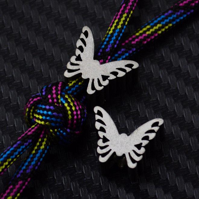 1pcs Titanium Butterfly Gray Paracord Lanyard Beads Metal Ti EDC Knife Tool Parachute Cord Bead Charms Pendant Mens Bracelet Diy