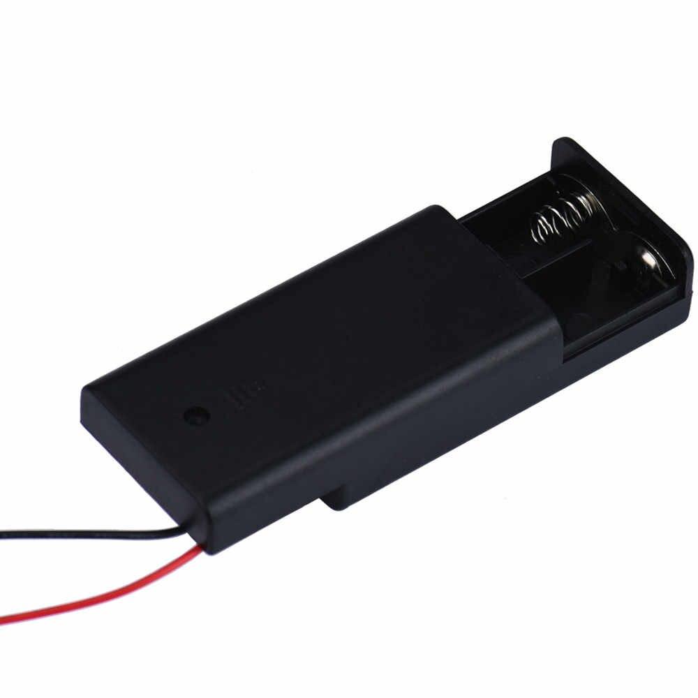 Nowy 1 pc 2xAA 3 V plastikowe opakowanie na baterie złącze pudełko do przechowywania na/wyłącznik z przewód zasilający fe1