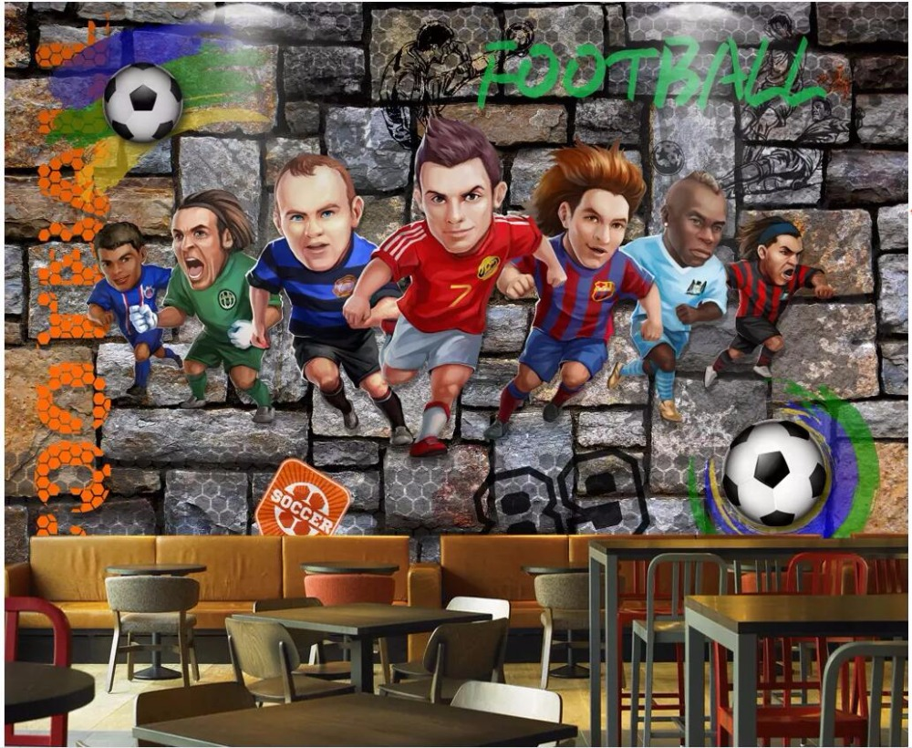 US $15 34 OFF Custom Photo 3d Room Wallpaper Picture Cartoon Footballer Brick Wall Home Decoration 3d Wall Murals Wallpaper For Walls 3