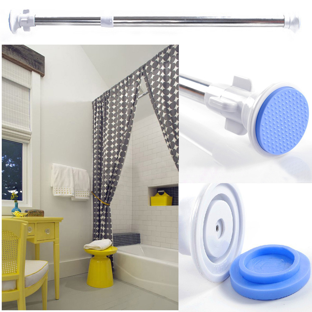 NEW Telescopic Shower Curtain Rail Extendable 70-120cm Heavy Duty Steel Pole Rod Retractable pole tools Shower Curtain Poles