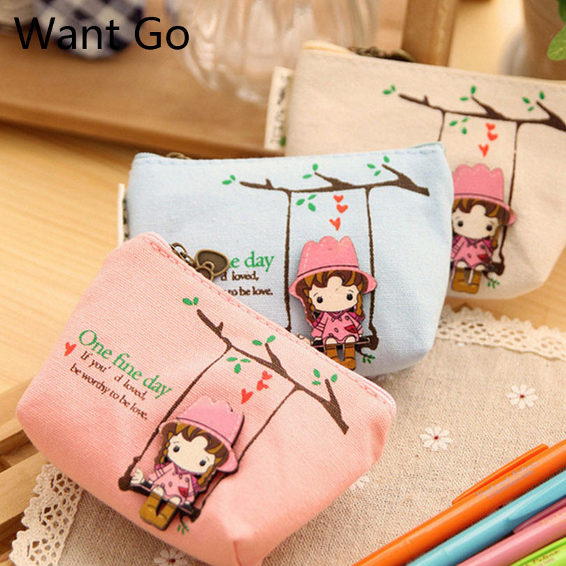 Want Go Cute Girls Canvas Coin Purse Zipper Women Coin Bag Portable Mini Wallet Small Purses Kawaii Female Travel Storage Bag
