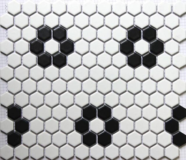 black white hexagonal ceramic mosaic tile kitchen backsplash swimming pool bathroom floor tiles 23x23mm 3d wall